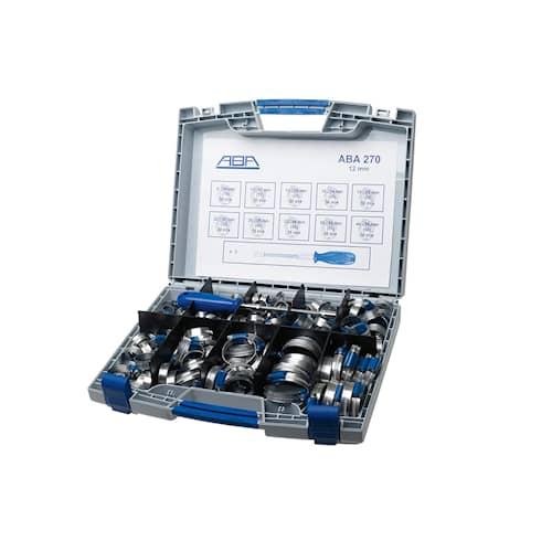 ABA Slangklämmor Sortimentslåda Rostfri S40 270-pack