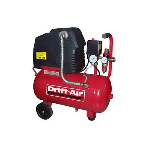 Drift-Air Kompressor OL 2/24 - oljefri 1-fas kompressor med hög prestanda, hjul för transport, manometer och partikelfilter.