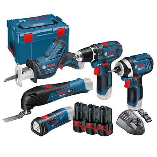 Bosch Verktygspaket 12V GSR/GDR/GOP/GSA/GLI med 3st 2Ah batteri i L-BOXX