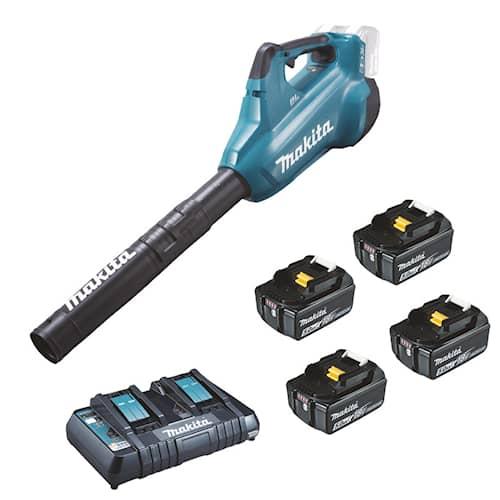 Makita Lövblås DUB362PT4 2x18V med 2-portsladdare samt 4st 5,0Ah batterier