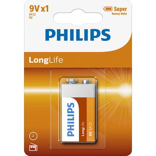 Philips Batteri Longlife 9V/6LF22 1-pack