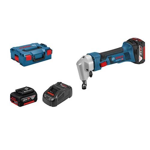 Bosch Nibblare GNA 18 V-16 i med 2 st. 5Ah batteri i L-BOXX