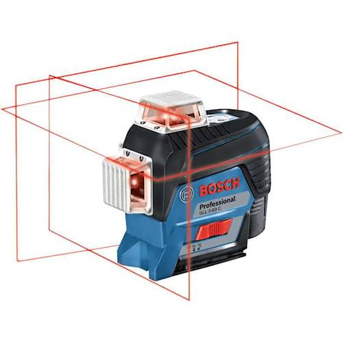 Bosch Krysslaser GLL 3-80 C med 4 x batteri (AA), tillbehörsset