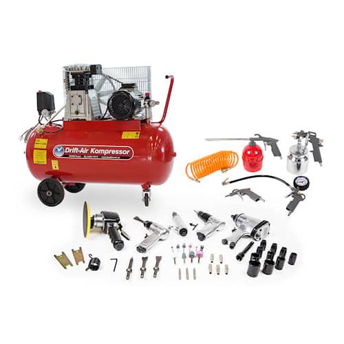 Drift-Air Kompressorpaket CT 4/380 med 5 tryckluftsmaskiner, 45 tillbehör samt 5 tryckluftsverktyg
