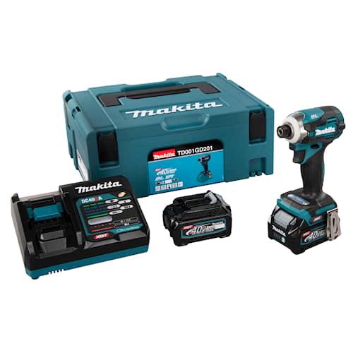 Makita Slagskruvdragare TD001GD201 40V 2x 2,5 Ah batterier, snabbladdare  i MAKPAC