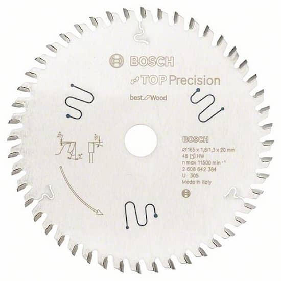 Bosch Sågklinga Top Precision Wood 165x1,8x20mm 48T