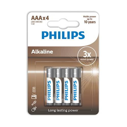 Philips Batteri Alkaline AAA/LR03 4-pack