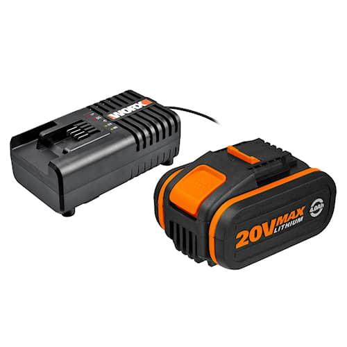 Worx Batteri & laddare WA3604 20V 4.0Ah+2A