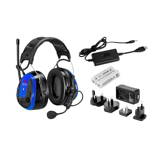 3M Peltor WS Alert XPI hörselskydd med hjässbygel, blå, App, Bluetooth inklusive ACK-paket (FR09, FR08, LR6NM), MRX21A3WS6-ACK
