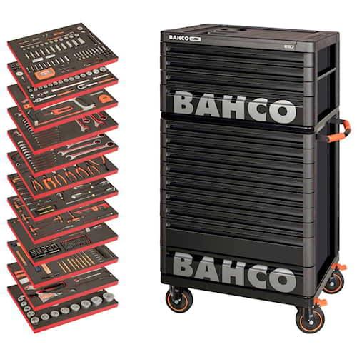 Bahco Verktygsvagn 1477K9 Svart Premium med 9 lådor + överskåp 1487K4 Svart med 4 lådor och 556 verktyg
