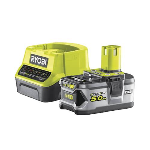Ryobi RC18120-150 Startpaket med 5,0Ah batteri Lithium+ och snabbladdare 18V