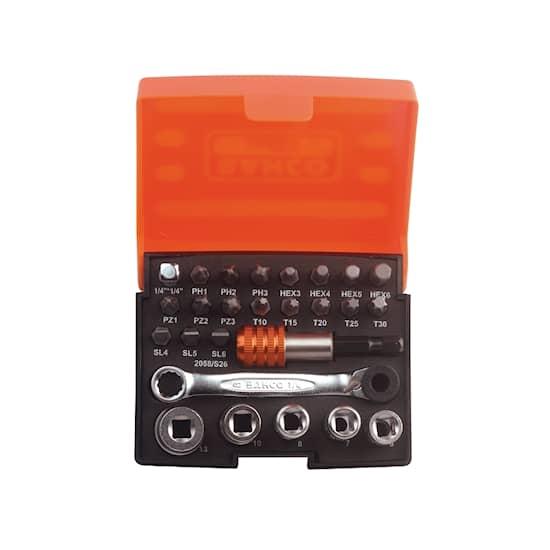 Bahco Bitssats med spärrnyckel 2058/S26